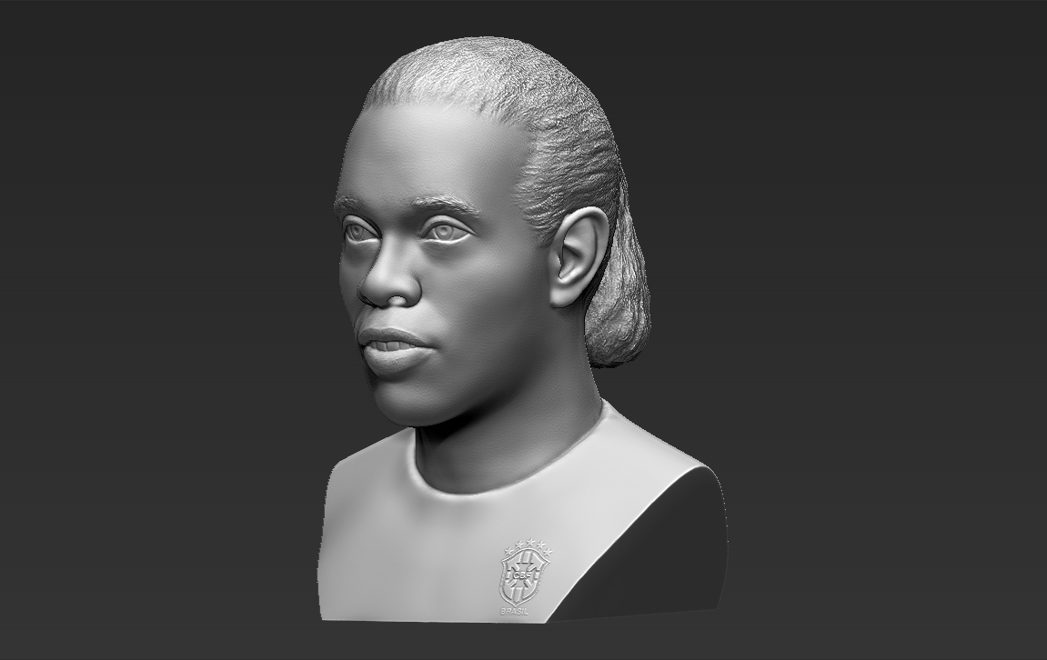 3.jpg Download STL file Ronaldinho bust 3D printing ready stl obj formats • 3D printable template, PrintedReality