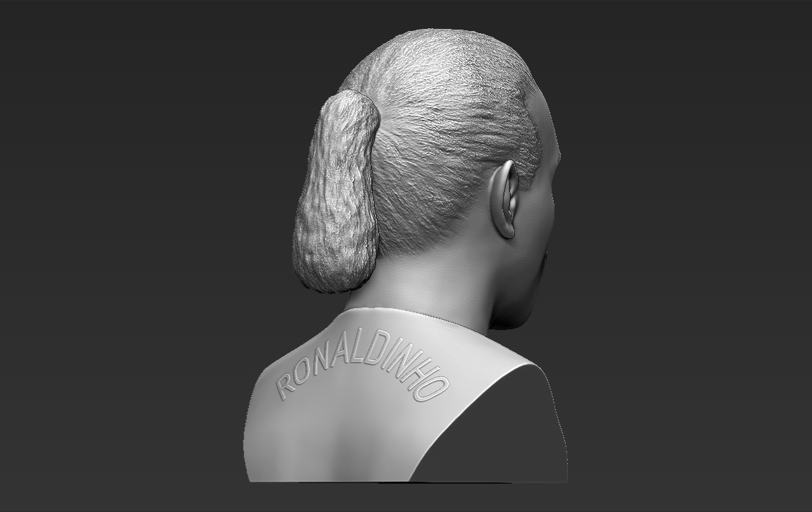 7.jpg Download STL file Ronaldinho bust 3D printing ready stl obj formats • 3D printable template, PrintedReality