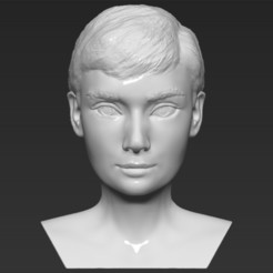 3D print model Audrey Hepburn bust 3D printing ready stl obj formats, PrintedReality
