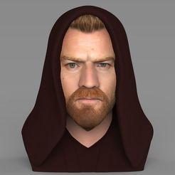 Download STL Obi Wan Kenobi Star Wars bust ready for full color 3D printing, PrintedReality