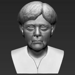 Download 3D printer templates Angela Merkel bust 3D printing ready stl obj, PrintedReality