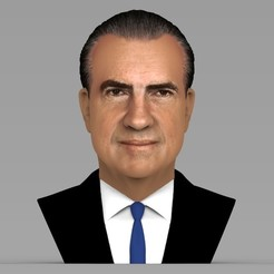 Download 3D printing designs Richard Nixon bust ready for full color 3D printing, PrintedReality