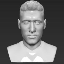 Download 3D printing designs Robert Lewandowski bust 3D printing ready stl obj, PrintedReality