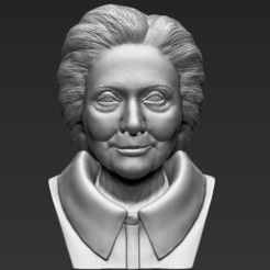 3D printer models Hillary Clinton bust 3D printing ready stl obj, PrintedReality