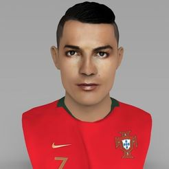 Download 3D printing designs Cristiano Ronaldo bust ready for full color 3D printing, PrintedReality