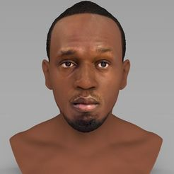 Download 3D printer designs Usain Bolt bust ready for full color 3D printing, PrintedReality