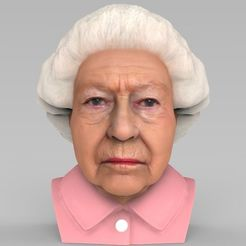 Download 3D printer files Queen Elizabeth II bust ready for full color 3D printing, PrintedReality