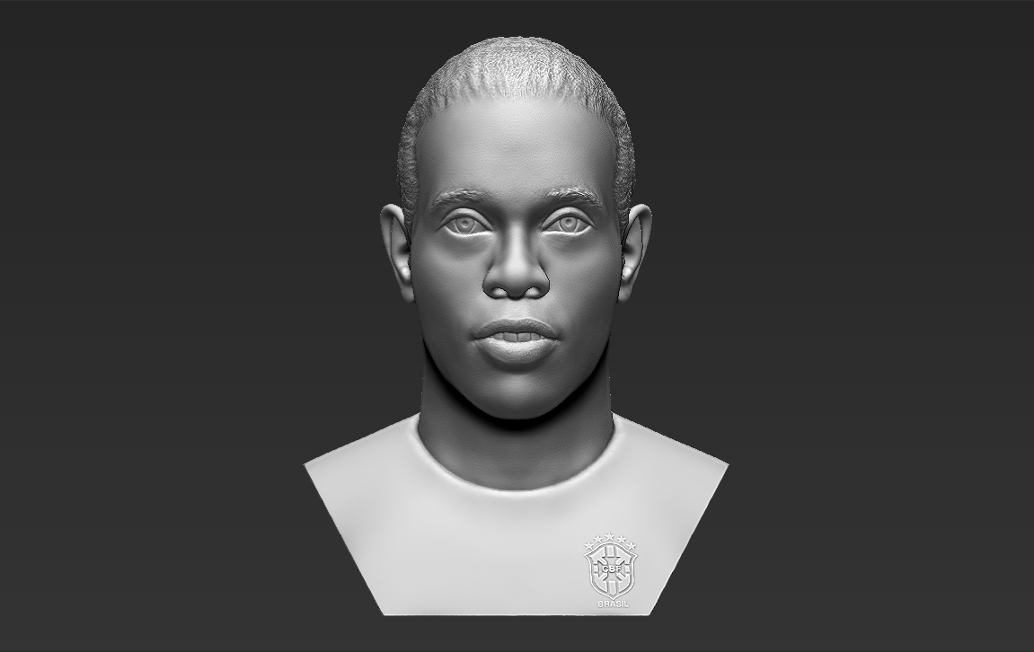 1.jpg Download STL file Ronaldinho bust 3D printing ready stl obj formats • 3D printable template, PrintedReality