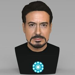 3D printer files Tony Stark Downey Jr Iron Man bust full color 3D printing ready, PrintedReality
