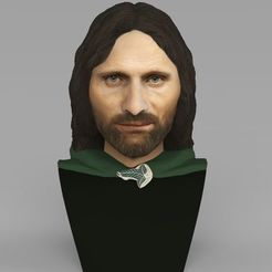 3D print model Aragorn bust Lord of the Rings for full color 3D printing, PrintedReality