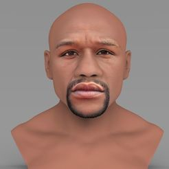 Download 3D printer designs Floyd Mayweather bust ready for full color 3D printing, PrintedReality