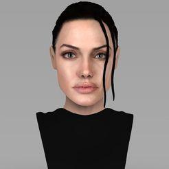 Fichier STL Lara Croft Angelina Jolie buste Angelina Jolie buste prêt pour l'impression 3D couleur pleine couleur, PrintedReality