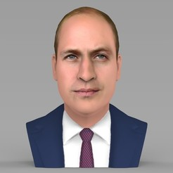Download 3D printer files Prince William bust ready for full color 3D printing, PrintedReality