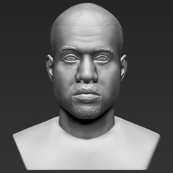 Download 3D printing models Kanye West bust 3D printing ready stl obj, PrintedReality