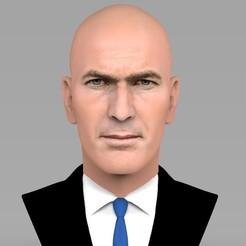untitled.1650.jpg Télécharger fichier STL Le buste de Zinedine Zidane prêt pour l'impression 3D en couleur • Objet pour impression 3D, PrintedReality