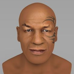 Download 3D printing designs Mike Tyson bust ready for full color 3D printing, PrintedReality