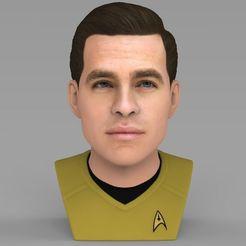 STL files Captain Kirk Chris Pine Star Trek bust full color 3D printing, PrintedReality
