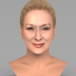 untitled.1514.jpg Télécharger fichier STL Le buste de Meryl Streep prêt pour l'impression 3D en couleur • Design à imprimer en 3D, PrintedReality