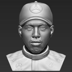 Imprimir en 3D Lewis Hamilton busto 3D listo para imprimir stl obj, PrintedReality