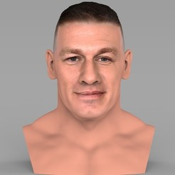 Download 3D printing templates John Cena bust ready for full color 3D printing, PrintedReality