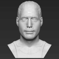 Download 3D printing designs Freddie Mercury bust 3D printing ready stl obj formats, PrintedReality