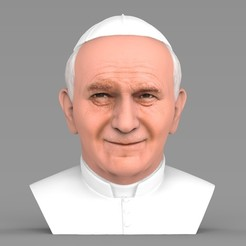 untitled.1803.jpg Download STL file Pope John Paul II bust ready for full color 3D printing • Design to 3D print, PrintedReality