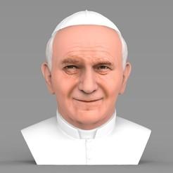 untitled.1803.jpg Télécharger fichier STL Le buste du pape Jean-Paul II prêt pour l'impression 3D en couleur • Modèle pour impression 3D, PrintedReality