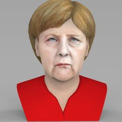 Download 3D printing models Angela Merkel bust ready for full color 3D printing, PrintedReality