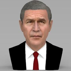 Download 3D printer model President George W Bush bust ready for full color 3D printing, PrintedReality
