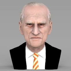 Download 3D printer templates Prince Philip bust ready for full color 3D printing, PrintedReality