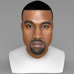 Download STL file Kanye West bust ready for full color 3D printing, PrintedReality