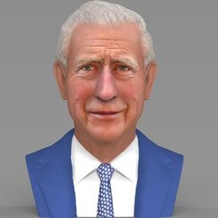 STL file Prince Charles bust ready for full color 3D printing, PrintedReality