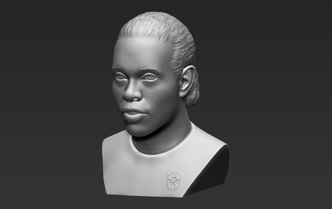 13.jpg Download STL file Ronaldinho bust 3D printing ready stl obj formats • 3D printable template, PrintedReality