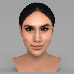 Impresiones 3D Busto Meghan Markle listo para la impresión 3D a todo color, PrintedReality
