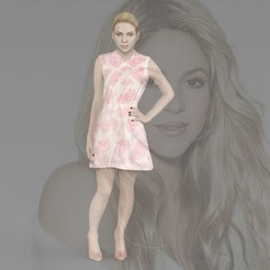 Download 3D printer designs Shakira ready for full color 3D printing, PrintedReality
