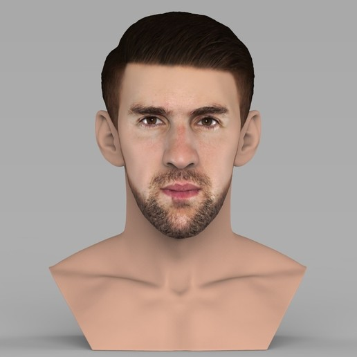 Download STL Michael Phelps bust ready for full color 3D printing, PrintedReality