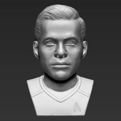 Download free STL file Captain Kirk Chris Pine Star Trek bust 3D printing ready stl obj, PrintedReality