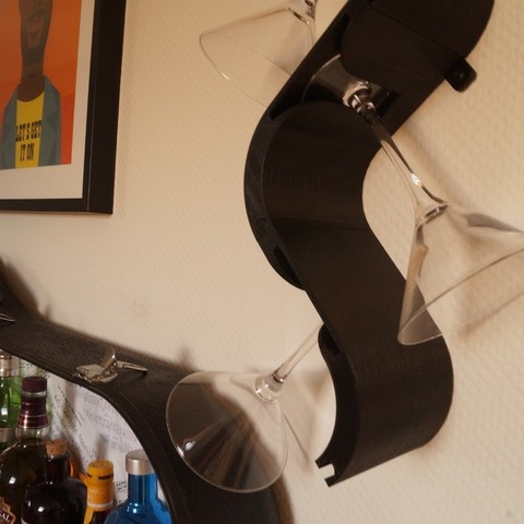 Download free 3D print files The Wave - Martini/wineglass wall hanger, csigshoj