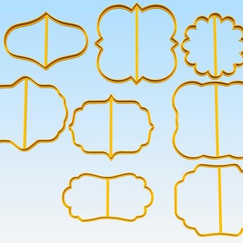 STL file Label Kit x 8 cookie cutter, 3dcookiecutterscom
