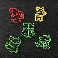 Download 3D printing models Woods Animals pack x5 Cookie Cutter, 3dcookiecutterscom