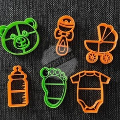 Download 3D printing templates Baby Shower Pack - Cookie Cutters, 3dcookiecutterscom
