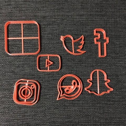 3D print files Social Network - Facebook Pack Instagram Twitter Snapchat Whatsapp, 3dcookiecutterscom