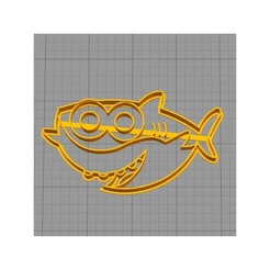 Download free 3D printer files Baby Shark Cookie Cutter, 3dcookiecutterscom