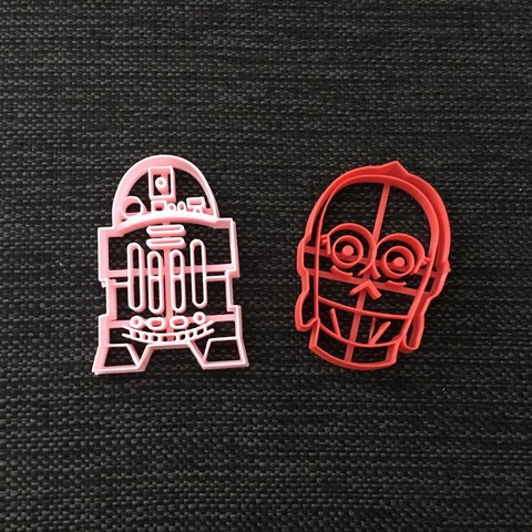 STL Starwars C-3PO & R2D2 Cookie Cutter, 3dcookiecutterscom