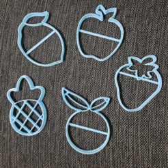 chrome_2020-08-26_21-53-34.png Download STL file Fruits Apple Orange Pineapple Lemon Strawberry Cookie Cutter • 3D printer design, 3dcookiecutterscom