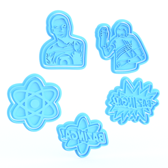 Screenshot_1.png Download STL file The big bang theory TV series cookie cutter set of 9 • 3D print template, roxengames