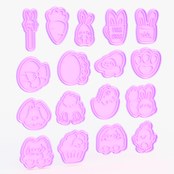 easter.png Download STL file Easter cookie cutter set of 17 • 3D printable object, roxengames