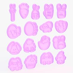 Descargar modelo 3D Juego de cortadores de galletas de Pascua de 17, roxengames