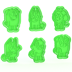 Screenshot_2.png Download STL file Bluey cartoon cookie cutter set of 6 • Object to 3D print, roxengames