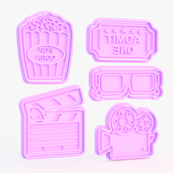 Screenshot_2.png Download STL file Movie theme cookie cutter set of 5 • 3D print template, roxengames